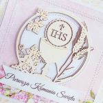 Kartka komunijna IHS z tekturką róż GOTOWA -