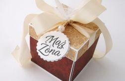 Pudełko na ślub Bordo Złoto