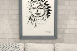 21x30 biało czarny plakat słońce księżyc