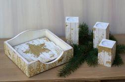 świeczniki i serwetnik-kpl złoty