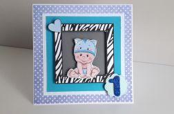 Kartka na Roczek niebieska kotek