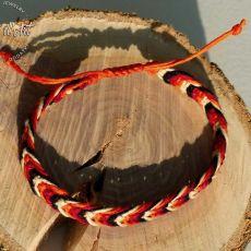 Bransoletka Czerwona makramowa pleciona z Lnu