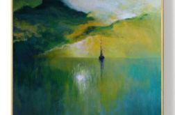 Samotna łódź-obraz akrylowy formatu 70/70 cm