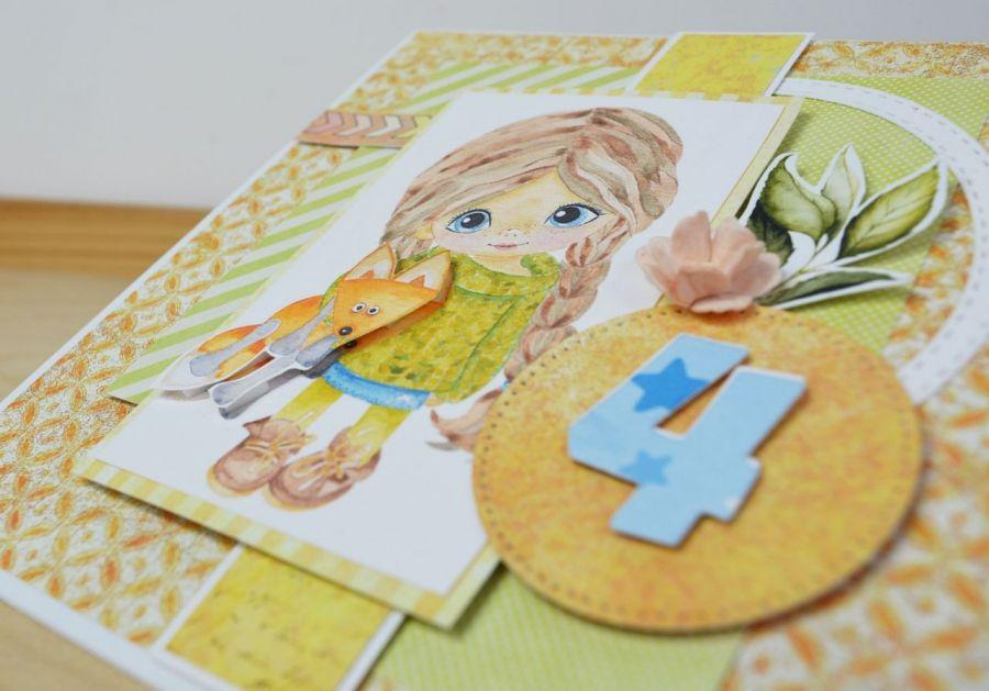 Kartka z dziewczynką - dowolna cyfra -
