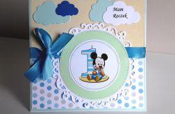 Kartka na Roczek Myszka Miki niebiesko-żółta