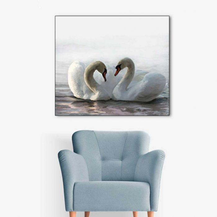 Łabędzie obraz do salonu, 60 x 50, minimalizm