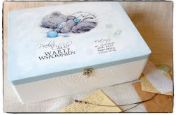 Miś Chłopiec 30x40 kufer, Chrzest Chrzciny