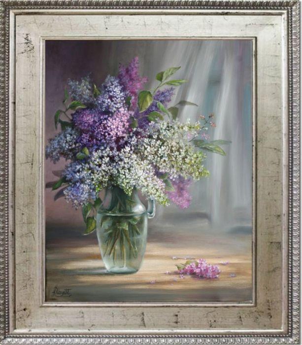 Kwiaty- Bzy w wazonie, ręcznie malowany, olej