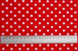 Tkanina czerwona w kropki - Polka Dot