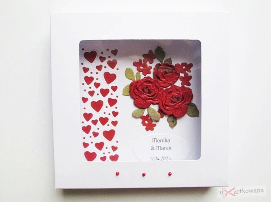 Kartka ŚLUBNA ciemnoczerwone róże - Biało-czerwona kartka ślubna z różami