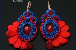 Fleur - kolczyki sutasz, czerwień i chaber