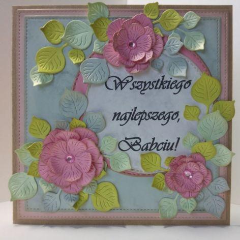 Kartka dla babci - różowe kwiatki (2)