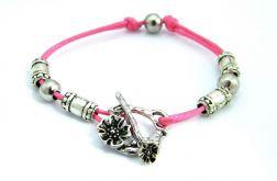 Sznurek - bransoletka różowa