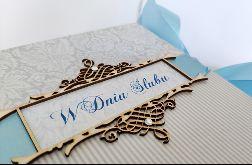 Kartka na ślub w błękitach 02, prezent, pamiątka, pudełko