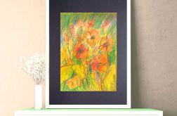 Rysunek z kwiatami na czarnym tle nr 1