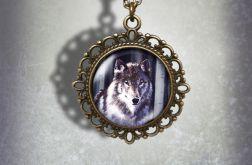 Medalion, naszyjnik - Szary wilk - zdobiony, stare złoto
