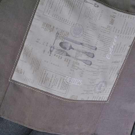 Rustykalna serweta - sztućce i menu 82 x 82 cm