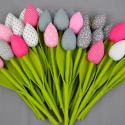 Tulipany szyte, kolorowe