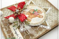 Kartka świąteczna z piernikowym ludkiem