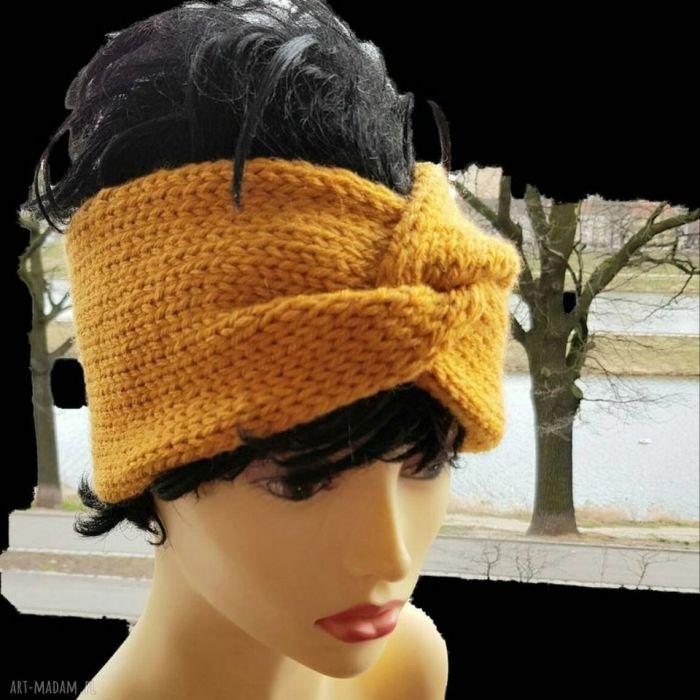 Turban modna opaska w kolorze musztardowym. - null