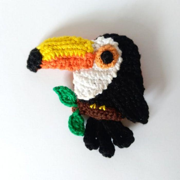 Broszka tukan - Szydełkowy tukan