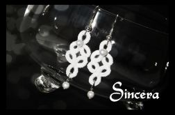 Kolczyki perłowo-koronkowe - Sincera
