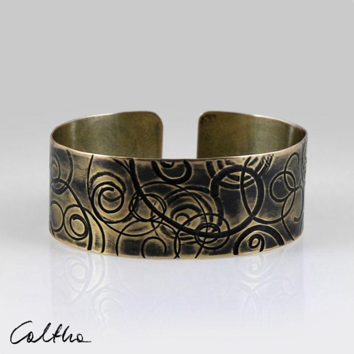 Mosiężna bransoleta - zawijasy 160427-01