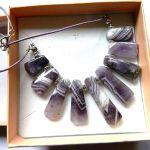 Ametyst naturalny, stopniowane kamienie,kolia