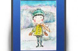 Zimowy chłopczyk 2, ilustracja dla dzieci
