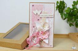 Romantyczna kartka ślubna - rożowy+kraft