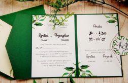 Zaproszenia ślubne w folderze greenery