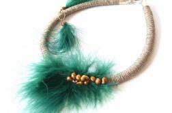 Naszyjnik z lnu, piór, pereł kolczyki Aoi