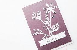 Kartka UNIWERSALNA burgundowo-biała