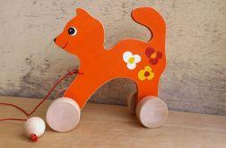 Drewniany kotek do ciągania, pomarańczowy