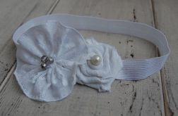 Opaska niemowlęca - Rustykalna w bieli