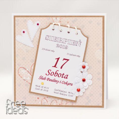 Kartka z kalendarza * kartka ślubna - KS1920