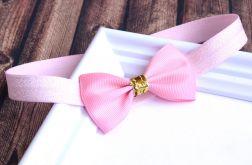 FairyBows * opaska większa KOKARDKA różowa + złoto