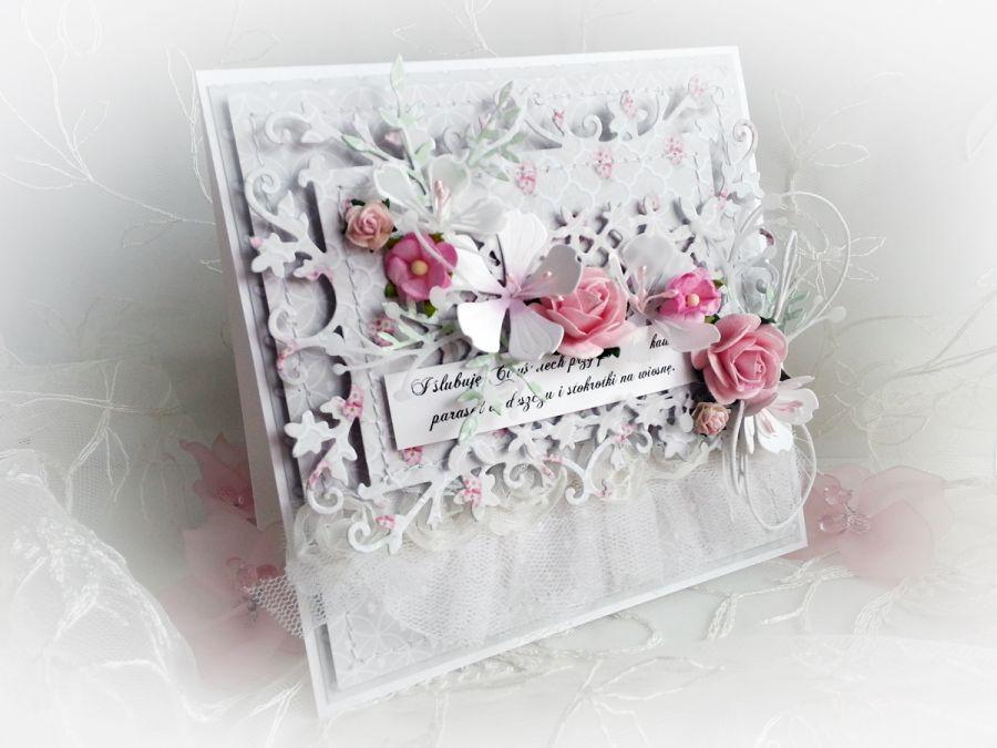 Kartka ślubna w pastelach wzór