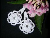 Spinki frywolitkowe białe kwiatki