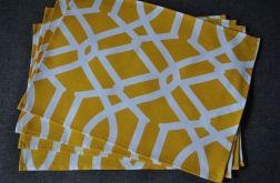 4 podkładki pod talerze - żółte arabeski