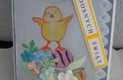 Kartka wielkanocna - kurczak z pisankami