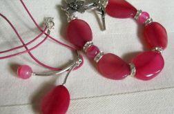 Różowe agaty, bransoletka i wisior, srebro