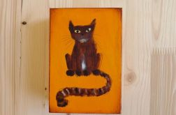 Pudełko malowane śr. - Kot w pomarańczowym