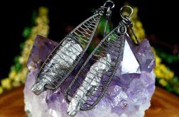Kwarc, srebrne kolczyki z kwarcem tytanowym