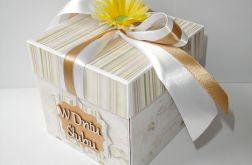 Pudełko, kartka ślubna beżowa ze słonecznikiem