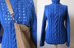 Sweter wełna 100% w kolorze kobaltowym
