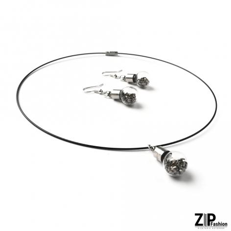 Komplet designerskiej biżuterii zipy i szkło
