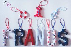 Literki szyte imię dziecka FRANUŚ + 3 dekory