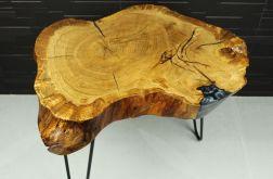Stolik plaster drewna dąb grafitowa żywica