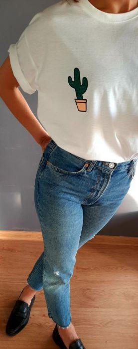 Biała koszulka ręcznie malowana kaktus unisex
